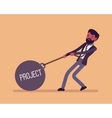 Businessman dragging a weight Project on chain vector image vector image