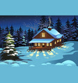 cabin in the woods during winter season vector image