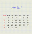 calendar for may 2017 vector image