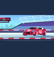 car race cartoon sport competition with fast vector image