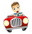 cartoon man driving fast car vector image vector image