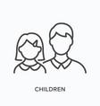 children flat line icon outline vector image