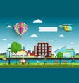 city with people and hot air balloon vector image vector image