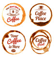 coffee stains logos and labels set vector image vector image