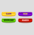 colorful button set vector image vector image