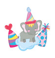cute and little elephant with party hat vector image