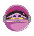 cute pink alien in flying capsule vector image vector image