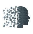 dark puzzle piece silhouette head - puzzle vector image vector image