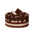 delicious sweet cake of white and dark chocolate vector image