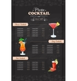 Drawing vertical cocktail menu design vector image
