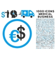Euro and Dollar Currency Icon with 1000 Medical vector image vector image