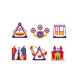 flat set of amusement park elements vector image