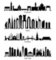 florence dubai new york and istanbul silhouettes vector image vector image