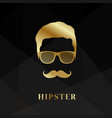 golden silhouette face hipster vector image vector image