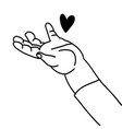 heart on childish hand linear contour trend vector image