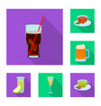 isolated object of drink and bar icon set of vector image vector image