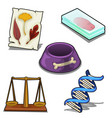 laboratory analysis dna bowl scales and leaves vector image vector image