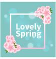 lovely spring pink flower square blue background v vector image vector image