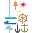 marine and yachting symbols vector image vector image