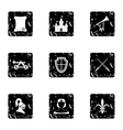 Military middle ages icons set grunge style vector image vector image