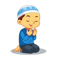 moslem boy praying vector image vector image