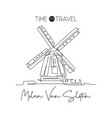 one single line drawing de gooyer windmill vector image