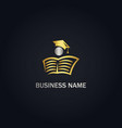 open book university education gold logo vector image vector image