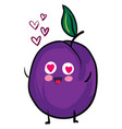 plum in love on white background vector image vector image