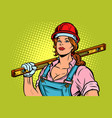 pop art woman builder with level vector image vector image