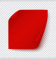 red paper banner square sticky page with turn up vector image