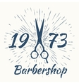 scissors and vintage sun burst frame Barbershop vector image vector image