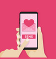 send love sms letter email with mobile phone vector image