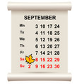 september 1 beginning of autumn maple leaf on vector image