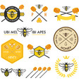 set honey labels badges and design elements vector image vector image