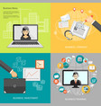 set of business concept vector image