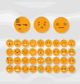 set of cute fruit smiley orange emoticons vector image