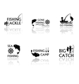 set of fishing symbols vector image vector image