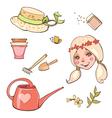 Set of flower girl hats garden tools vector image vector image