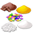 set of handful of bright colorful food candy vector image vector image