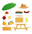 Set of objects for picnic vector image