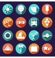 set of summer traveling icons with shadows vector image vector image