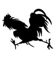silhouette a running cock vector image vector image
