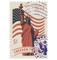statue of liberty in background of american flag vector image vector image