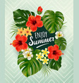 summer poster with tropical palm leaf and flowers vector image