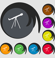 Telescope icon Symbols on eight colored buttons vector image vector image