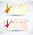 two colorful music banner set vector image vector image