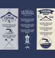 vintage tailor shop flyers template design vector image vector image