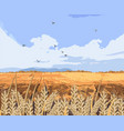 wheat field background beautiful fall vector image vector image