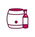 wine bottle and barrel celebration drink beverage vector image vector image