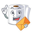 with envelope character toilet paper rolled on vector image vector image